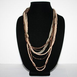 Boho style layered beaded necklace cream browngold
